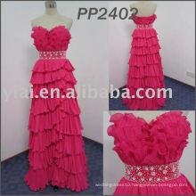 PP2402 2015 Sexy Sweetheart Backless Chiffon Beaded Ruffled Long Evening Dress Turkey