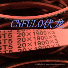 Revestido borracha Timing Belt, cor vermelha, T5-1900