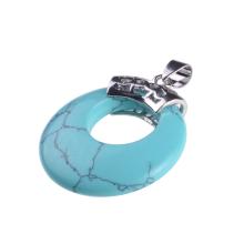Новые прибытия круглой формы бирюзовый камень кулон ожерелье для женщин