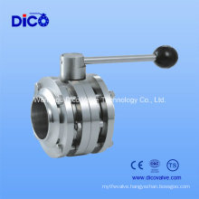 Food Industry Stainless Steel 3PC Weld Butterfly Valve