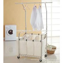 panier de blanchisserie de haute qualité avec le cintre d'ascenseur et le trieur de blanchisserie avec la barre accrochante d'ascenseur,
