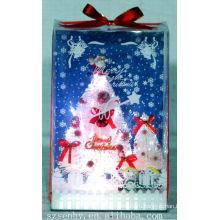 Горячая! Рождество белые волокна оптические коробка дерево Санта-Клаус