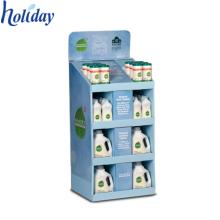 Présentoir de plancher de shampooing de lavage de corps de plat, affichage commode de shampooing de plancher de carton de magasins