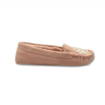 pink warm moccasin slippers for womens