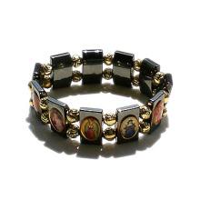 Hematite Bracelet, Elastic Hematite Religious Saint Bracelet