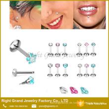 Arbeiten Sie neuen Entwurfslippenbolzen mit Edelstein labret Ring internen gewundenen piercing Schmuck um