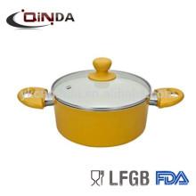 QINDA Aluminium-Keramik-Topf mit Glasdeckel