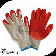 SRSAFETY 10G polycotton red latex coated work gloves,economy style