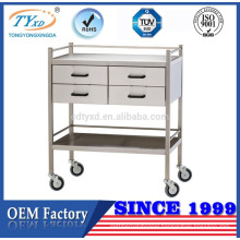 stainless steel medical instrument trolley with wheels