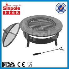 Outdoor Fire Pit Table BBQ Grill Fireplace Round with Cover Black (SP-FT034)
