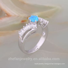 18 K Gold Plated White Opal Ring Crystal Retro Silver Ring