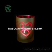 Цветная двойная стенка стеклянная чашка для свечей от SGS (8 * 10,5)