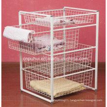 4 Tiers White Wire Basket Drawer (LJ2005)