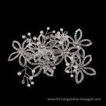 Wholesale Pearl Wedding Handmade Silver Jewelry Accessories Metal Hairgrip Bridal Fancy rhinestone Crystal leaf hair clip
