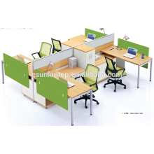 Oficina de trabajo para cuatro personas de madera de melocotón y cálida tapicería blanca, Pro fábrica de muebles de oficina (JO-4046)