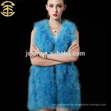 Chaleco caliente de la piel de la manera del nuevo producto 2015 la piel animal de China arropa la ropa genuina de las mujeres de la pluma del pavo