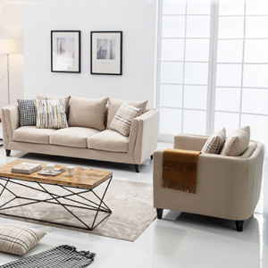 3-Piece Five Seater Linen Upholstered Sofa Set