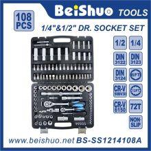 108 PCS 1/4 '' 1 / 2''dr. Ensemble à douilles pour outils à main Cr-V