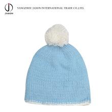 Chapéu de malha Bobble Acrílico Chapéu De Malha com Pompom Acrílico Malha Beanie Acrílico Kintted Toque Inverno Bobble Hat