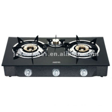 Glass Top Triple Burner tabel gas stove, gas cooker