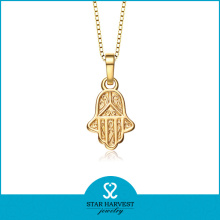 Religious Gold Plated Hamas Hand Pendant Necklace (SH-0169N)