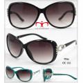 Nuevas gafas de sol de plástico de las señoras con la decoración del metal (WSP601531)