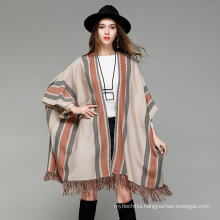 New style poncho 2017 ladies winter warm knitted stripe fashion Acrylic poncho