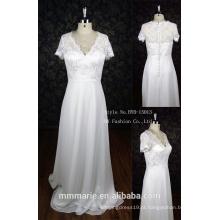Mais tamanho vestido de noiva chiffon elegante mangas tampão vestido de casamento apliques de strass