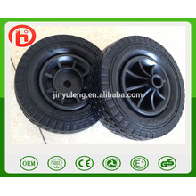 6 * 2 previenen la rueda de la pu de la rueda sólida de la espuma del pu de la no del pin plano para el carro de la carretilla