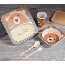 Umweltfreundliches 5-teiliges Bambus-Kinder-Dinner-Set