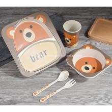 Набор экологически чистых бамбуковых детских обеденных наборов из 5 предметов