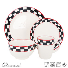 16PCS Hand Painting Dinner Set Checked Design and Red Rim