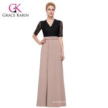 GK Occident Women's Half Sleeve Lace Splicing High Split Long Fashion Dress CL009717-1
