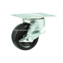 Black Rubber Braked Swivel Caster Wheels for Furnitures