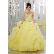 Spaghetti Crystal Organza Ballgown Prom Quinceanera Dress (89148)