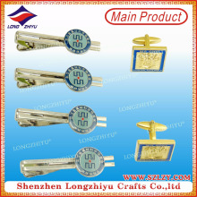 Wholesale custom gold plating tie clip and cufflinks