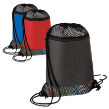 Nylon drawstring swimming bags with mesh