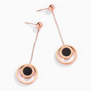 Minimalistiska Rose Gold Double Circle Dangle Earrings