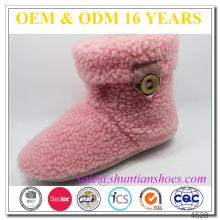 Fuzzy Lined Velcro Snow Boots For Women