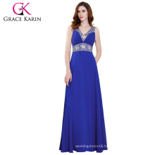 Grace Karin Womens Sleeveless Beaded Blue Party Gowns Chiffon Long Evening Dress CL4410