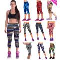 Leggings crochus extensibles imprimés à haute taille Womens High Waist Fitness (50041)