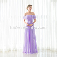 La última luz púrpura de la manera de la muchacha Maxi Off-hombro vestido Lady Party Wear venta al por mayor vestido de noche