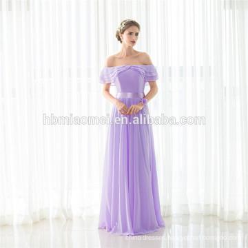 Latest Fashion Light Purple Girl Maxi Off-shoulder Dress Lady Party Wear Wholesale Evening Dress