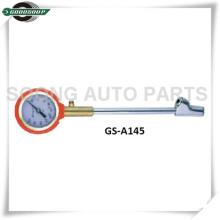 Calibre de pressão longo do pneu do metal do seletor do chuck com a válvula de liberação de bronze do ar