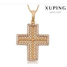 32703 encanto de la moda Cubic Zirconia Cruz joyería de imitación colgante de cadena en aleación de cobre