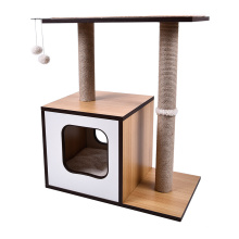 Natural Sisal Rope Scratching Post Wooden Cat Tree Condo