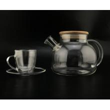 Bule / xícara de vidro de borosilicato transparente