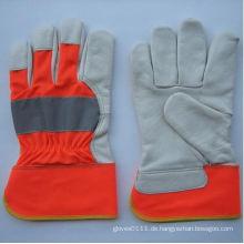 Hi-Vis Kuh Korn Leder Voll Palm Handschuh-3131. Rd