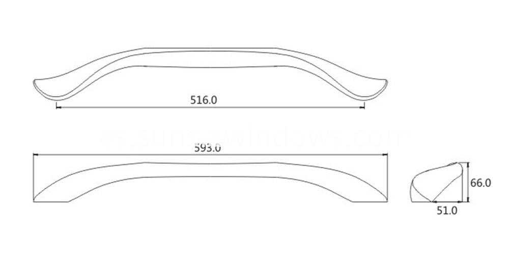 Aluminum slim body pull handle drawing