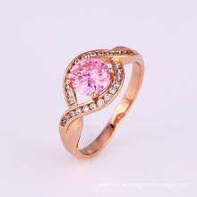 Xuping Elegante Diseño Especial Rosa Cúbico Zircon Compromiso Anillo